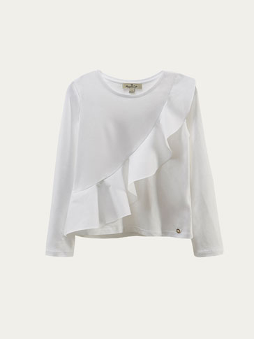 T-SHIRT WITH CROSSED RUFFLED TRIM