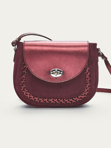 LEATHER HANDBAG WITH CONTRASTING BRAIDED DETAIL