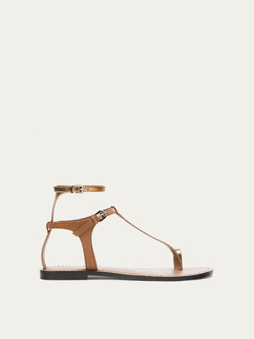 TAN LEATHER SANDALS WITH ANKLE STRAP