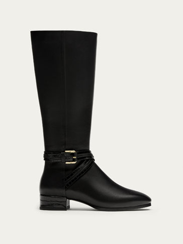 TALL BLACK LEATHER BOOTS