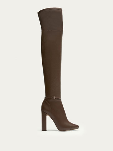 TAUPE OVER-THE-KNEE NAPPA LEATHER BOOTS