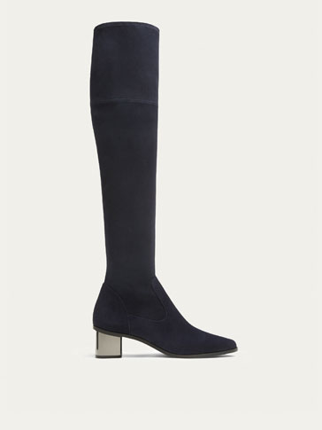 BLUE SUEDE HIGH HEEL BOOTS