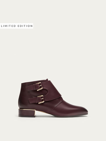 BURGUNDY LEATHER ANKLE BOOTS WITH BUCKLES