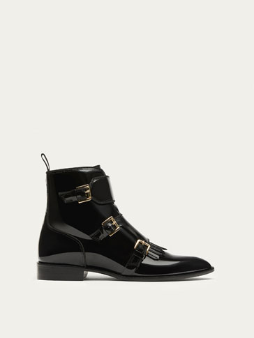 BLACK PATENT FINISH LEATHER ANKLE BOOTS WITH BUCKLES