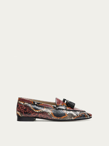 ANIMAL PRINT LEATHER LOAFERS