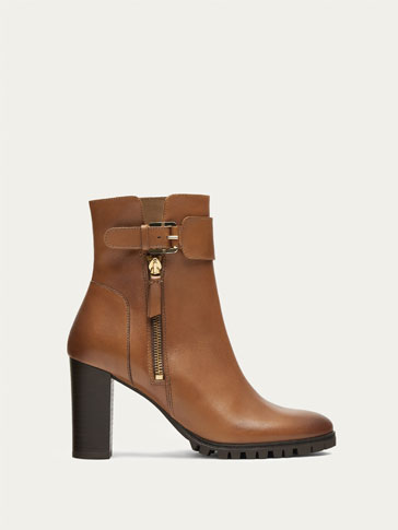 TAN NAPPA LEATHER HIGH HEEL ANKLE BOOTS