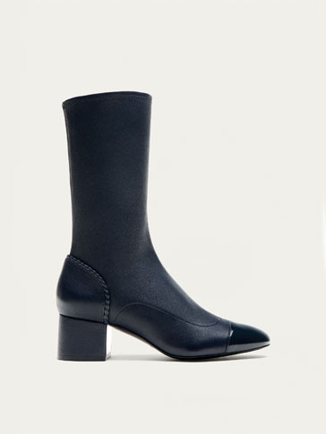 STRETCH BLUE NAPPA LEATHER ANKLE BOOTS