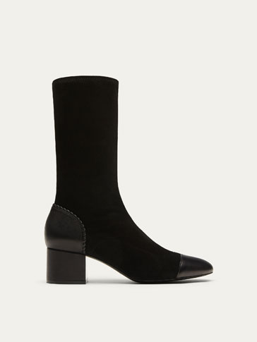STRETCH BLACK SUEDE LEATHER ANKLE BOOTS