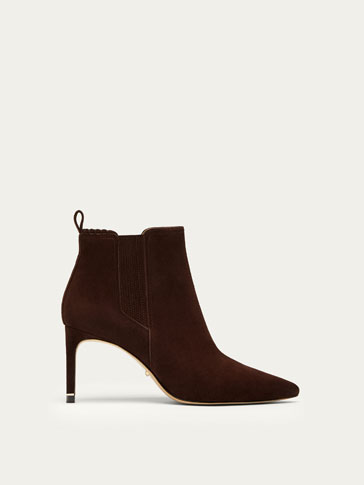 BROWN SUEDE LEATHER HIGH HEEL ANKLE BOOTS