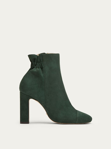 GREEN SUEDE ANKLE BOOTS