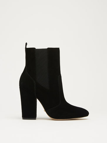 BLACK SUEDE ELASTIC ANKLE BOOTS