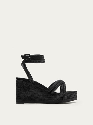 BLACK JUTE WEDGES