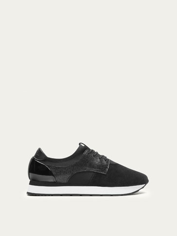BLACK MOCK CROC LEATHER SNEAKERS