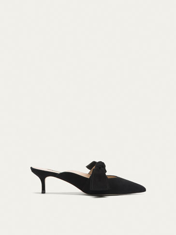 BLACK SLINGBACK HIGH HEEL COURT SHOES WITH BOW DETAIL
