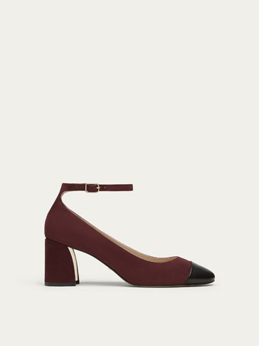 BURGUNDY LEATHER HIGH HEEL COURT SHOES