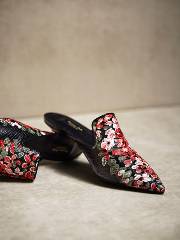 LIMITED EDITION FLORAL PRINT LEATHER MULES