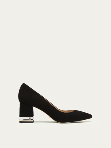 BLACK SUEDE HIGH HEEL COURT SHOES WITH METHACRYLATE HEEL