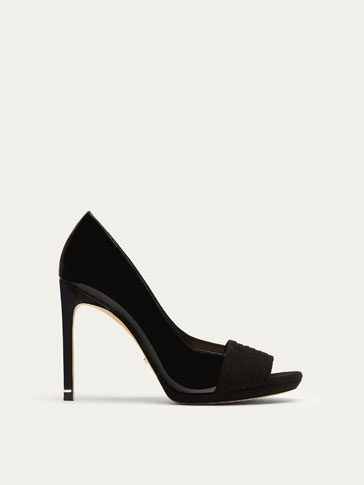 BLACK LEATHER HIGH HEEL COURT SHOES WITH PATENT FINISH