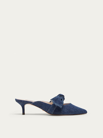 HIGH HEEL DENIM AND LEATHER MULE COURT SHOES