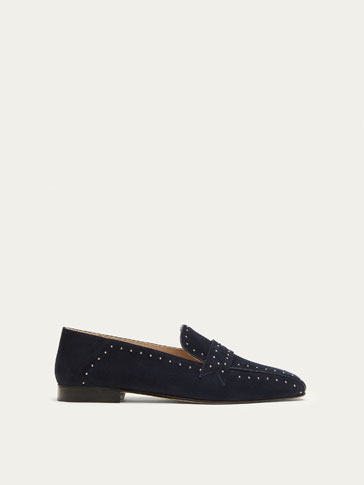 BLUE SUEDE LOAFERS WITH STUDS
