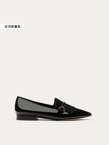 BLACK METALLIC LEATHER LOAFERS