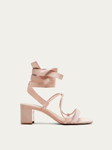 NUDE LEATHER SANDALS WITH STRAPS