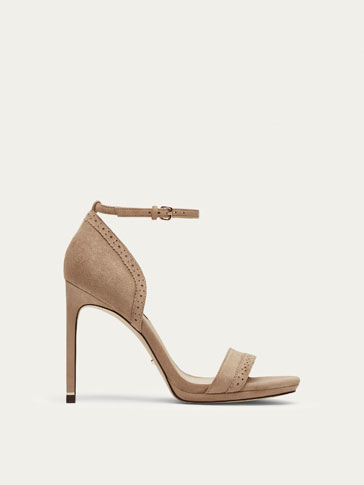 TAUPE SUEDE LEATHER HIGH HEEL SANDALS