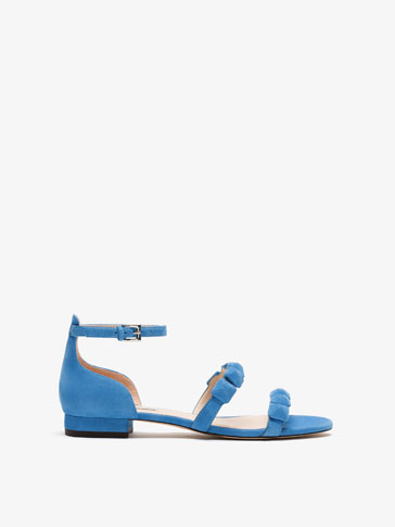 BLUE SUEDE LEATHER SANDALS