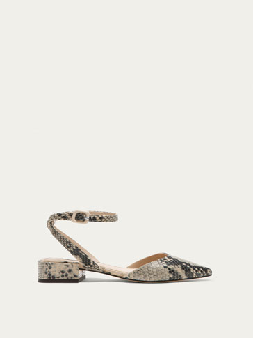NUDE ANIMAL PRINT LEATHER BALLERINAS