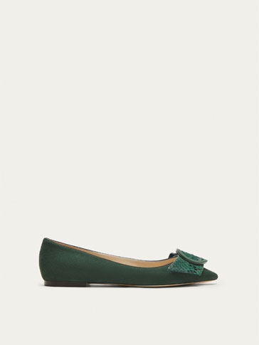 GREEN LEATHER BALLERINAS WITH BUCKLE