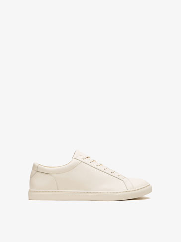 CREAM LEATHER SNEAKERS