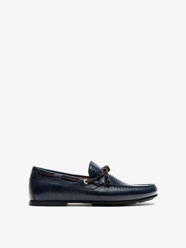 BLUE EMBOSSED LEATHER LOAFERS