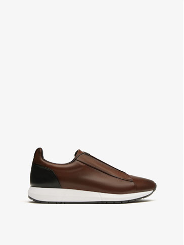 BROWN ELASTIC LEATHER SNEAKERS