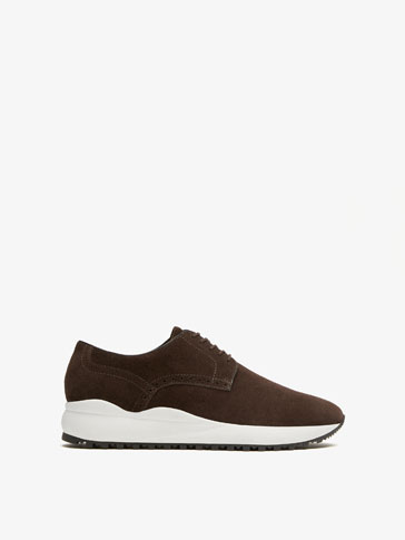 BROWN SPLIT SUEDE LEATHER SNEAKERS