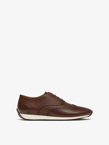 BROWN LEATHER BROGUE SNEAKERS