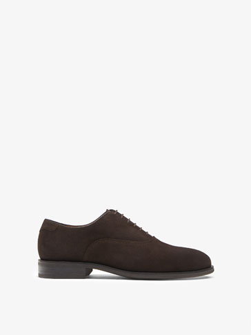 BROWN SPLIT SUEDE LEATHER OXFORD SHOES