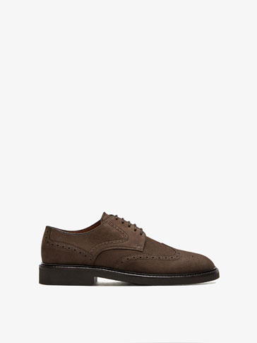 BROWN LEATHER BROGUES WITH LIGHTWEIGHT SOLE