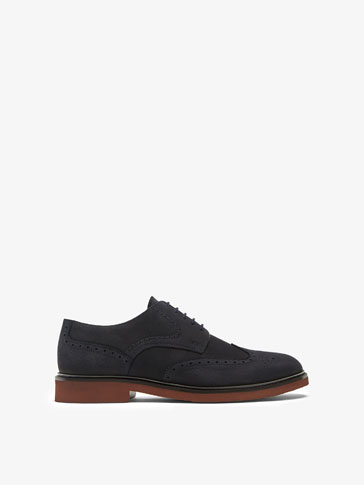 BLUE LEATHER BROGUES WITH LIGHTWEIGHT SOLE