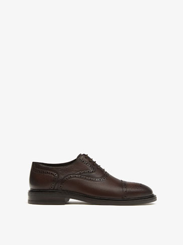 BROWN NAPPA LEATHER OXFORD SHOES
