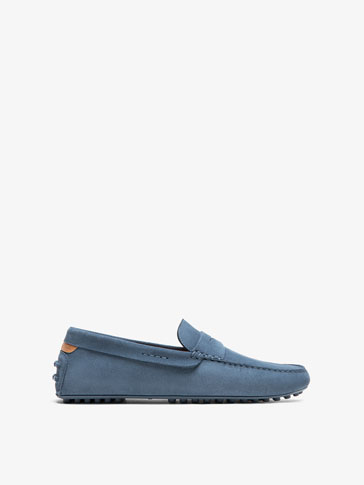 LEATHER LOAFERS WITH BLUE SADDLE STRAP