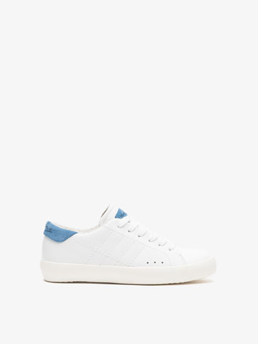 WHITE TOP STITCHED LEATHER PLIMSOLLS