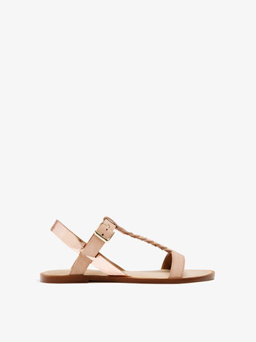 PINK PLAITED LEATHER SANDALS