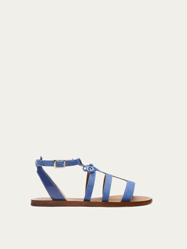BLUE LEATHER SANDALS WITH STRAPS