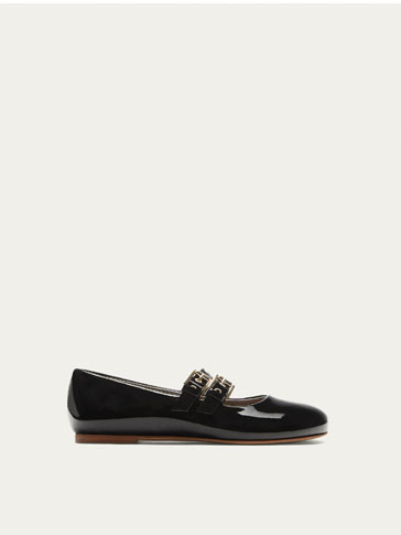 PATENT FINISH BALLERINAS WITH TWO BUCKLES