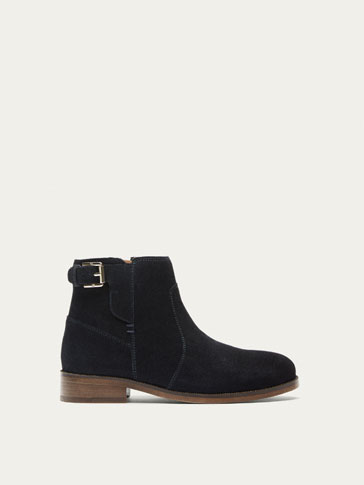 BLUE SPLIT SUEDE LEATHER ANKLE BOOTS WITH BUCKLE
