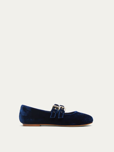 BLUE VELVET BALLET FLATS
