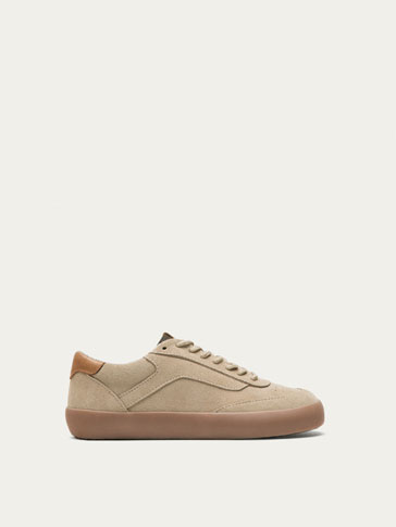 SAND-COLOURED LEATHER SNEAKERS