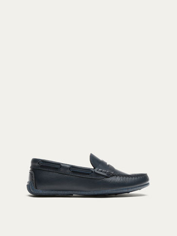 BLUE LEATHER LOAFERS WITH SADDLE STRAP DETAIL