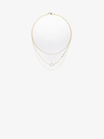 WHITE DETAIL TRIPLE NECKLACE