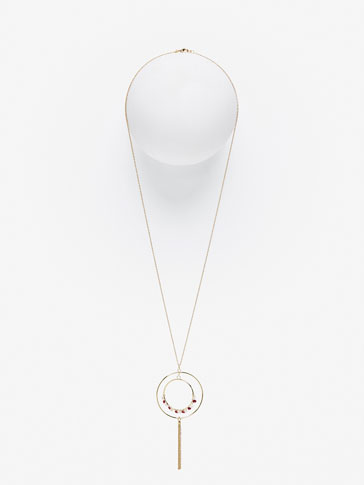 DOUBLE HOOP NECKLACE WITH METAL FRINGE AND GEM DETAIL